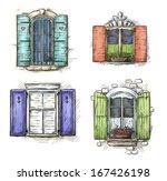 Vintage Window Hand Drawn Set...