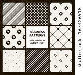 vector set of eight seamless...   Shutterstock .eps vector #167426918