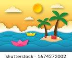 hello summer with beach...   Shutterstock .eps vector #1674272002