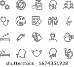 set of coronavirus icons  virus ... | Shutterstock .eps vector #1674351928