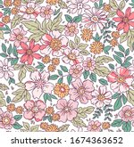 elegant floral pattern in small ... | Shutterstock .eps vector #1674363652