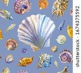Seashells Seamless Pattern On A ...