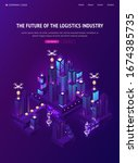 future of logistics industry... | Shutterstock .eps vector #1674385735