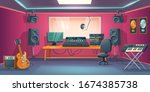 music studio control room and... | Shutterstock .eps vector #1674385738