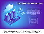concept cloud storage  data... | Shutterstock .eps vector #1674387535