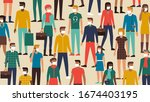 crowd of people wearing a face... | Shutterstock .eps vector #1674403195