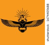 pharaonic wings egyptian and... | Shutterstock .eps vector #1674405688