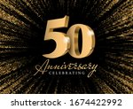 anniversary 50. gold 3d numbers.... | Shutterstock .eps vector #1674422992