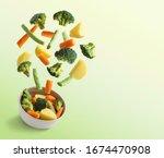 Boiled Vegetables Flying Over...