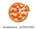 pizza with tomato mushroom...   Shutterstock .eps vector #1674515455