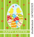 easter card with chickens and... | Shutterstock .eps vector #1674522325