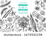 herbs and spices hand drawn... | Shutterstock .eps vector #1674542158