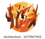 a group of people  activists...   Shutterstock .eps vector #1674567442