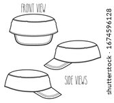 army cap sketch. black and... | Shutterstock .eps vector #1674596128