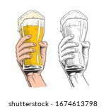hand holding a beer glass.... | Shutterstock .eps vector #1674613798