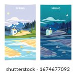 spring landscape at day and... | Shutterstock .eps vector #1674677092