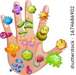 human hand full of different... | Shutterstock .eps vector #1674686902