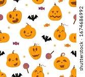 cute spooky orange pumpkin  bat ... | Shutterstock .eps vector #1674686992