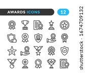 awards line icons. outline... | Shutterstock .eps vector #1674709132