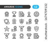 awards line icons. outline...   Shutterstock .eps vector #1674709132