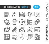 check marks line icons. outline ... | Shutterstock .eps vector #1674709978