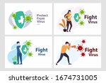 set vector illustration fight... | Shutterstock .eps vector #1674731005