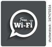 Free wi-fi icon. Wifi speech bubble. Wireless Network symbol. Wifi zone. Flat icons. Vector.