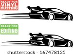 Stock vector racing car silhouette with speed lines 167478125