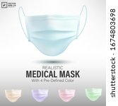 realistic medical mask with 4... | Shutterstock .eps vector #1674803698