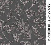 hand drawn aesthetic botanical... | Shutterstock .eps vector #1674808768