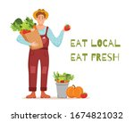 eat local organic products... | Shutterstock .eps vector #1674821032