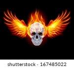 fiery skull with fire wings on...