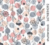 seamless pattern with hand... | Shutterstock .eps vector #1674854392