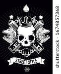 hip hop poster with skull.... | Shutterstock .eps vector #1674857368