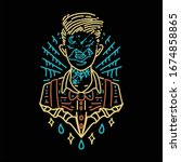 imaginary boy tattoo line art  | Shutterstock .eps vector #1674858865