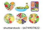 healthy food served on circle... | Shutterstock .eps vector #1674907822