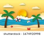 hello summer with beach... | Shutterstock .eps vector #1674920998
