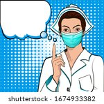 masked nurse points to retro... | Shutterstock .eps vector #1674933382