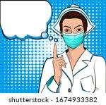 masked nurse points to retro...   Shutterstock .eps vector #1674933382