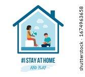 i stay at home awareness social ... | Shutterstock .eps vector #1674963658