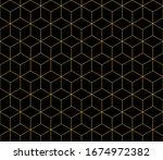 isometric cube gold line... | Shutterstock .eps vector #1674972382