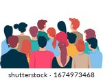 back view colored head of... | Shutterstock .eps vector #1674973468