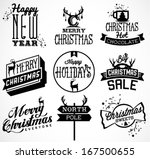 christmas and new year vintage... | Shutterstock .eps vector #167500655