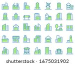 color line building icons....   Shutterstock . vector #1675031902