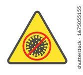 sign caution coronavirus. stop... | Shutterstock .eps vector #1675055155