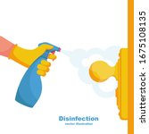Close Up Disinfection Of Door...
