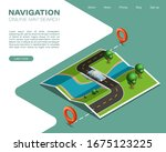 isometric paper map navigation  ... | Shutterstock .eps vector #1675123225