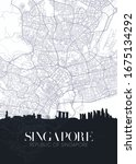 skyline and city map of... | Shutterstock .eps vector #1675134292
