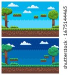 Pixel Game Landscape Vector ...