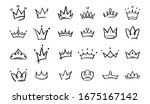 Hand Drawn Doodle Crowns. King...